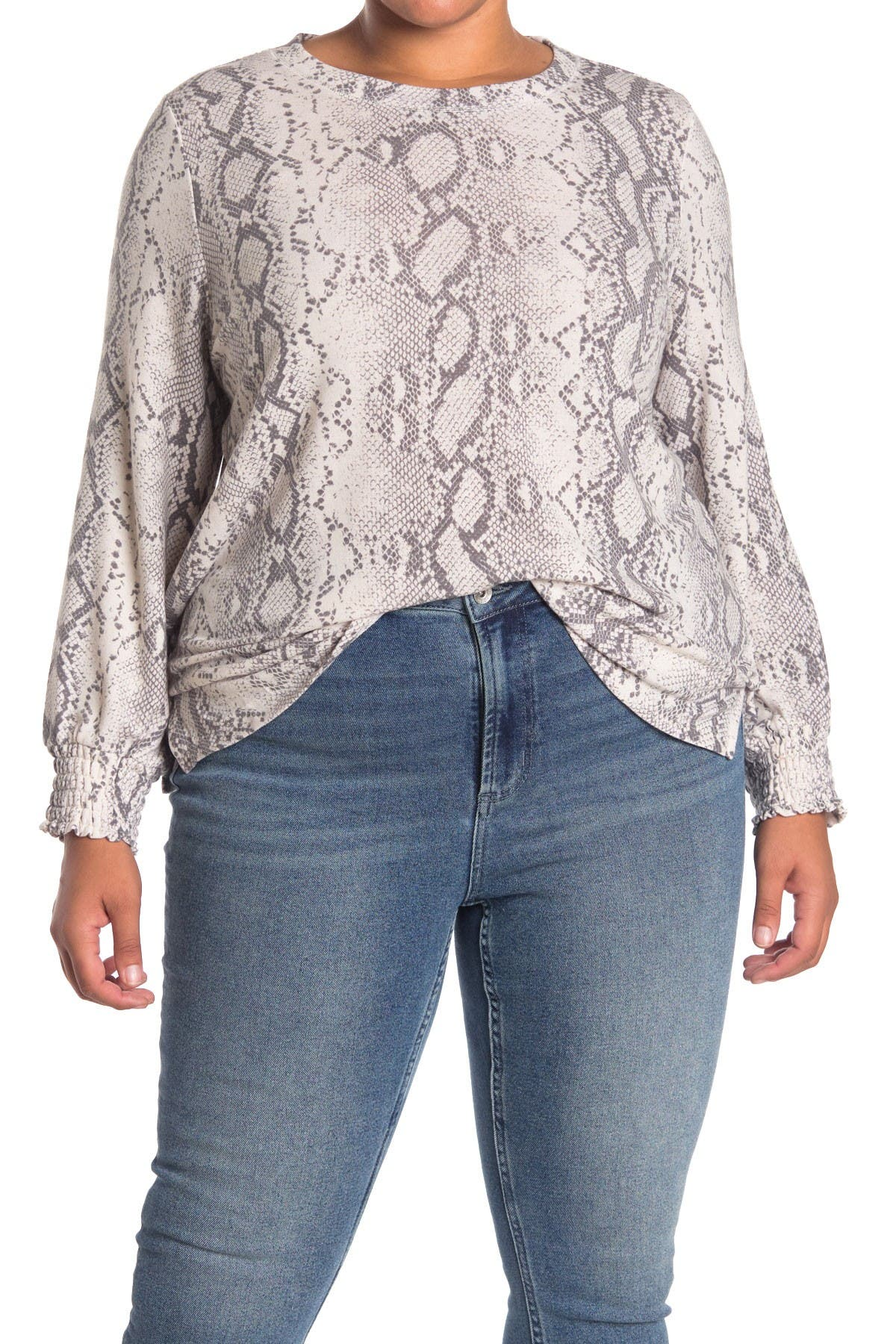 Image of Collective Concepts Snake Print Crew Neck Top