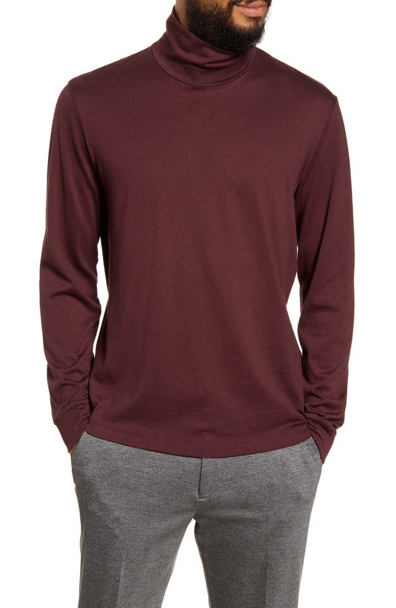 THEORY Turtleneck Cotton & Cashmere T-Shirt, Main, color, CHIANTI