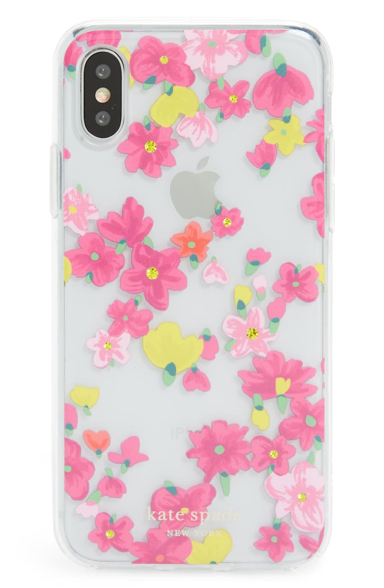 KATE SPADE NEW YORK jeweled marker floral iPhone X/Xs/Xs Max & XR Case, Main, color, 650