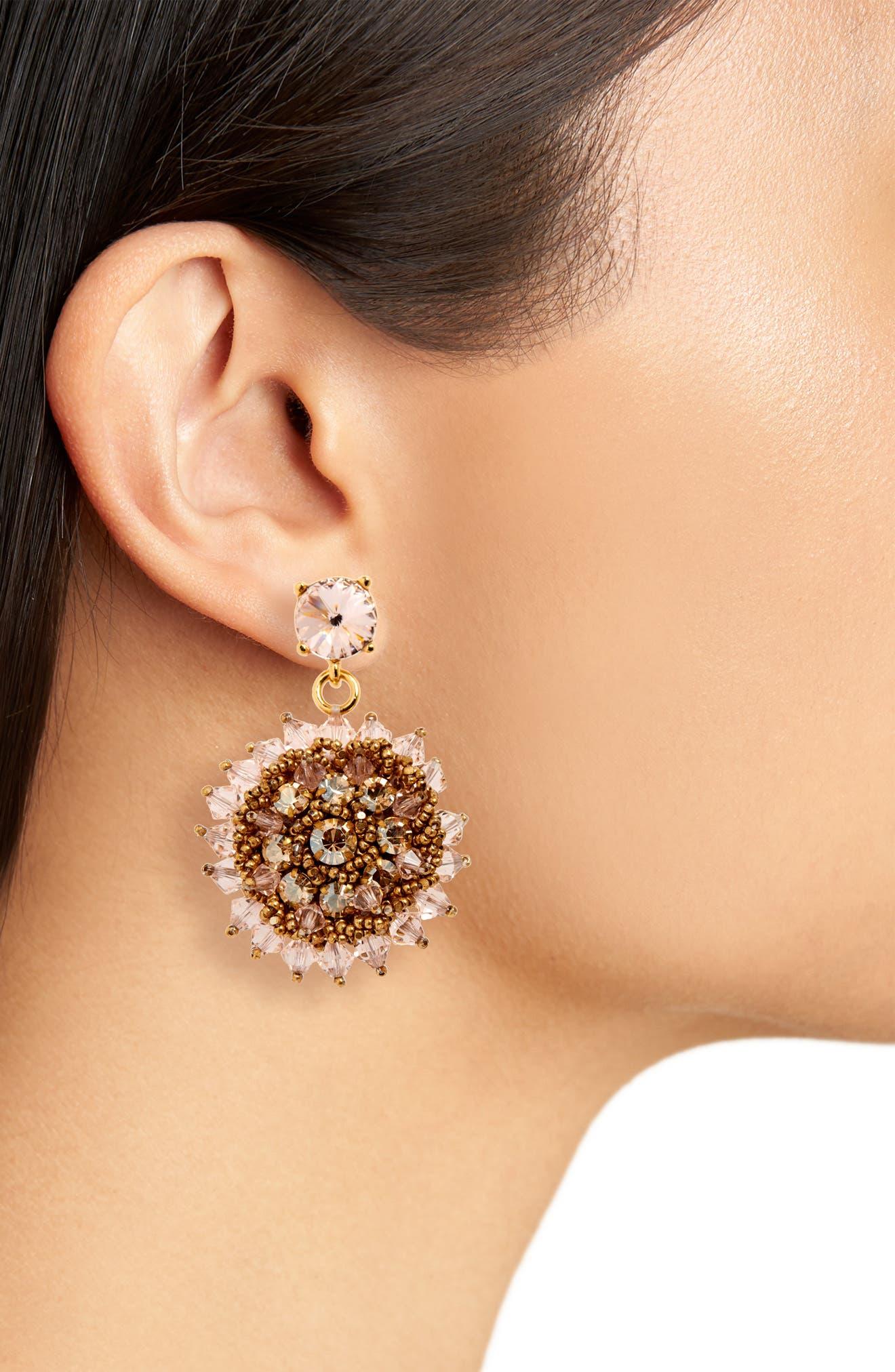 ,                             Beaded Crystal Drop Earrings,                             Alternate thumbnail 2, color,                             CRYSTAL GOLD SHADOW