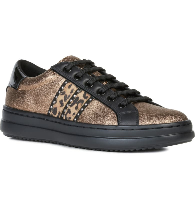 GEOX Pontoise Sneaker, Main, color, BRONZE/ TOBACCO FAUX LEATHER