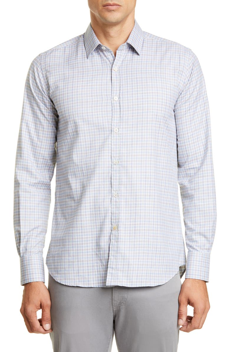 CANALI Slim Fit Check Button-Up Sport Shirt, Main, color, GREEN