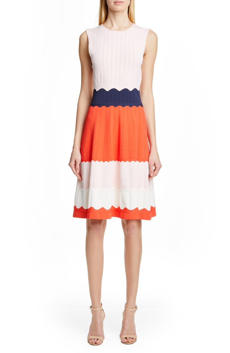 LELA ROSE Colorblock Sweater Dress, Main, color, MULTI