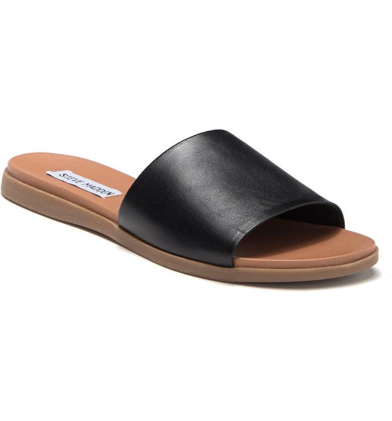 STEVE MADDEN Kailey Slide Sandal, Main, color, BLACK LEAT