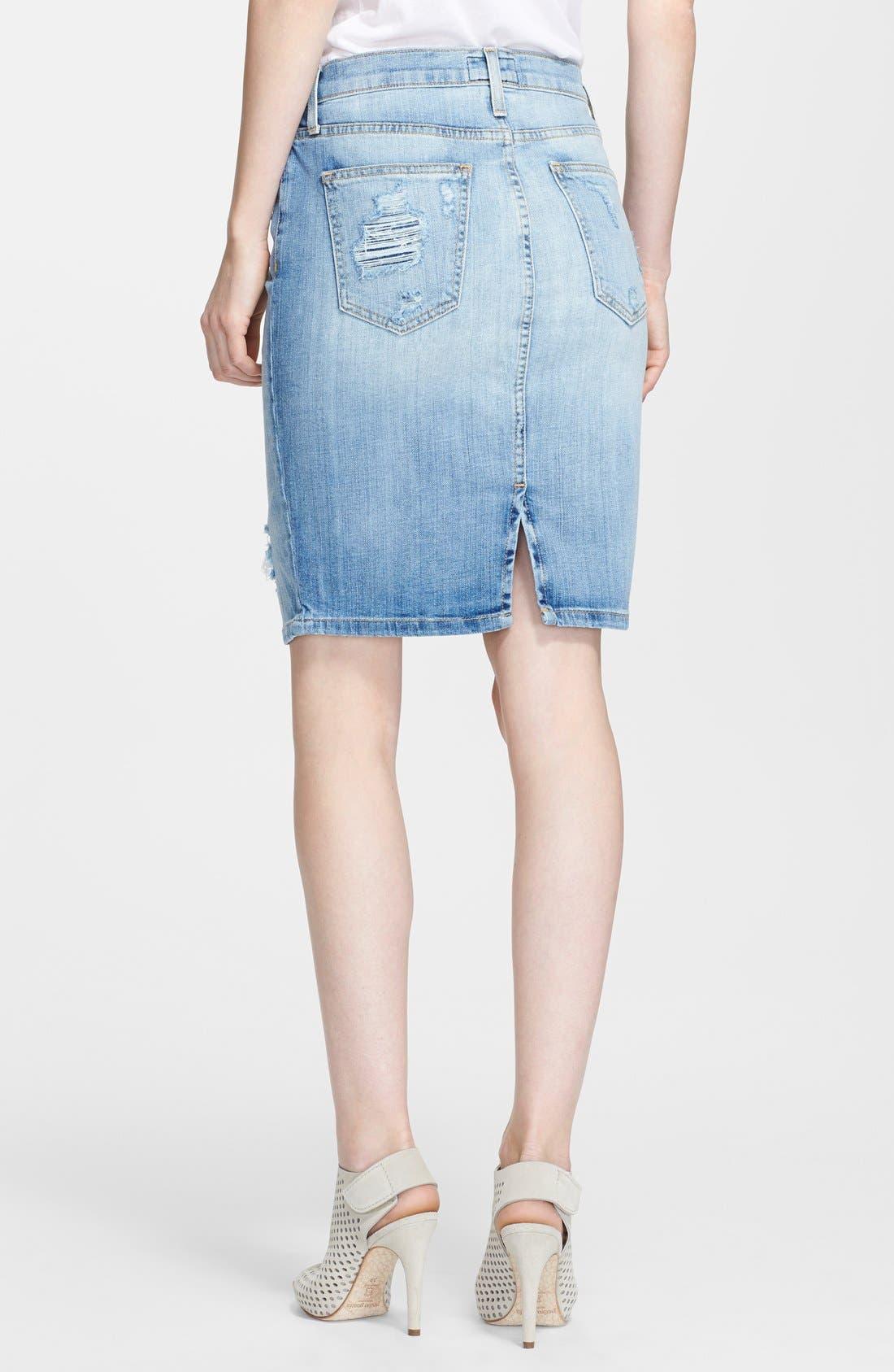 ,                             'The Stiletto' Destroyed Jean Skirt,                             Alternate thumbnail 3, color,                             481