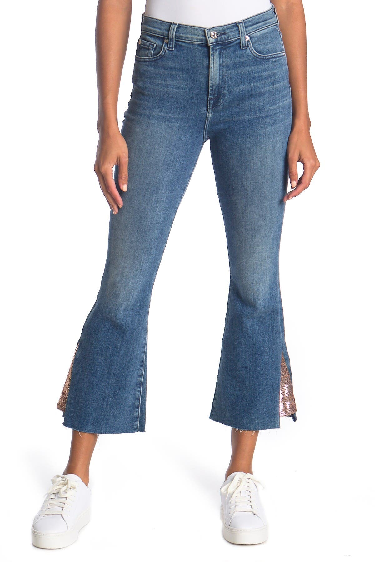 Image of 7 For All Mankind High Waist Sequin Hem Kick Flare Cropped Jeans