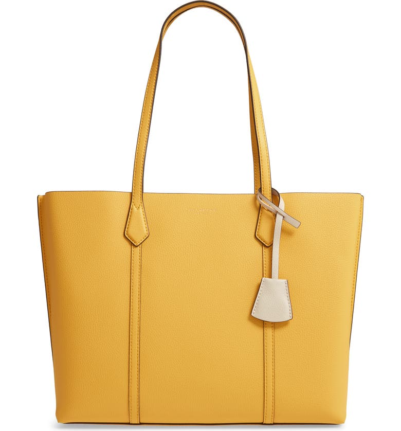 TORY BURCH Perry Leather Tote, Main, color, LEMON DROP