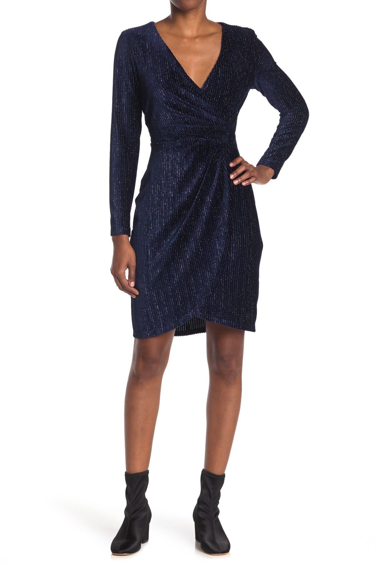 Image of Julia Jordan Metallic Stripe Ribbed Velvet Sheath Dress