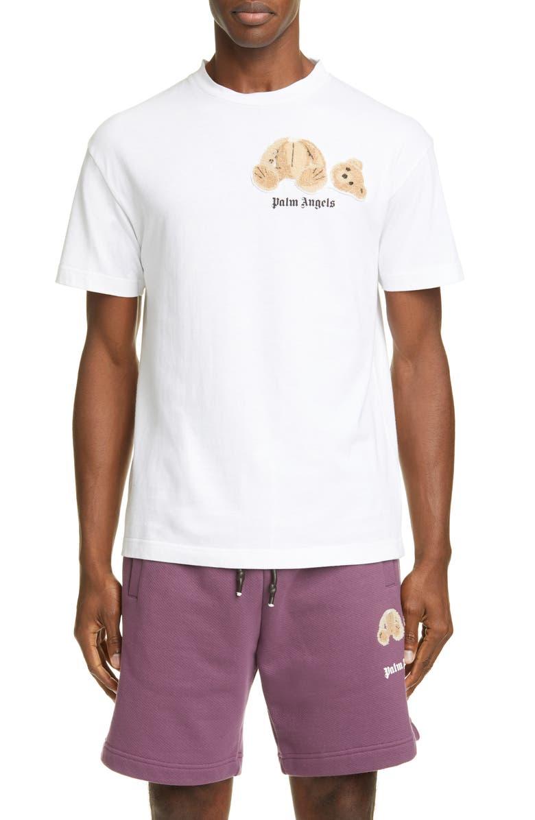 PALM ANGELS Mini Kill the Bear Bouclé T-Shirt, Main, color, WHITE