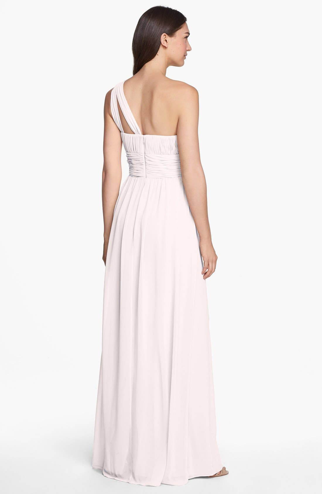 ,                             'Rachel' Ruched One-Shoulder Chiffon Gown,                             Alternate thumbnail 120, color,                             685