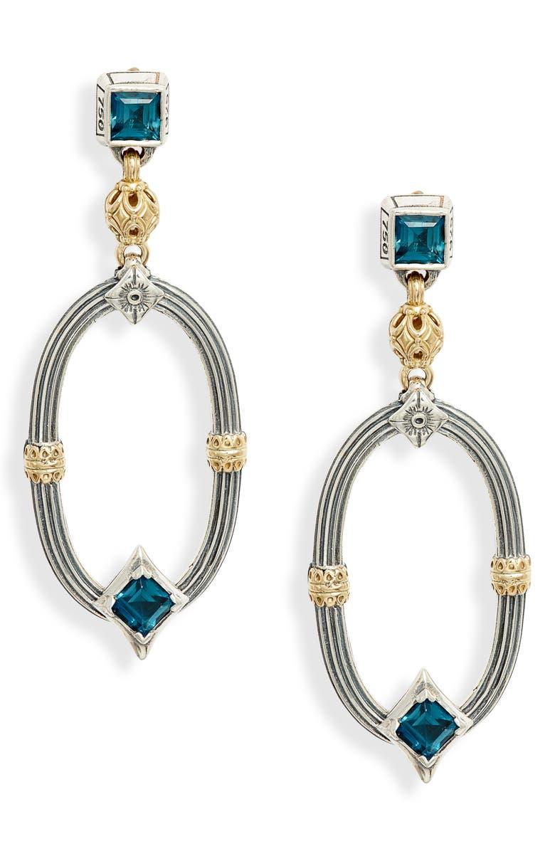 KONSTANTINO Delos Topaz Drop Earrings, Main, color, BLUE TOPAZ