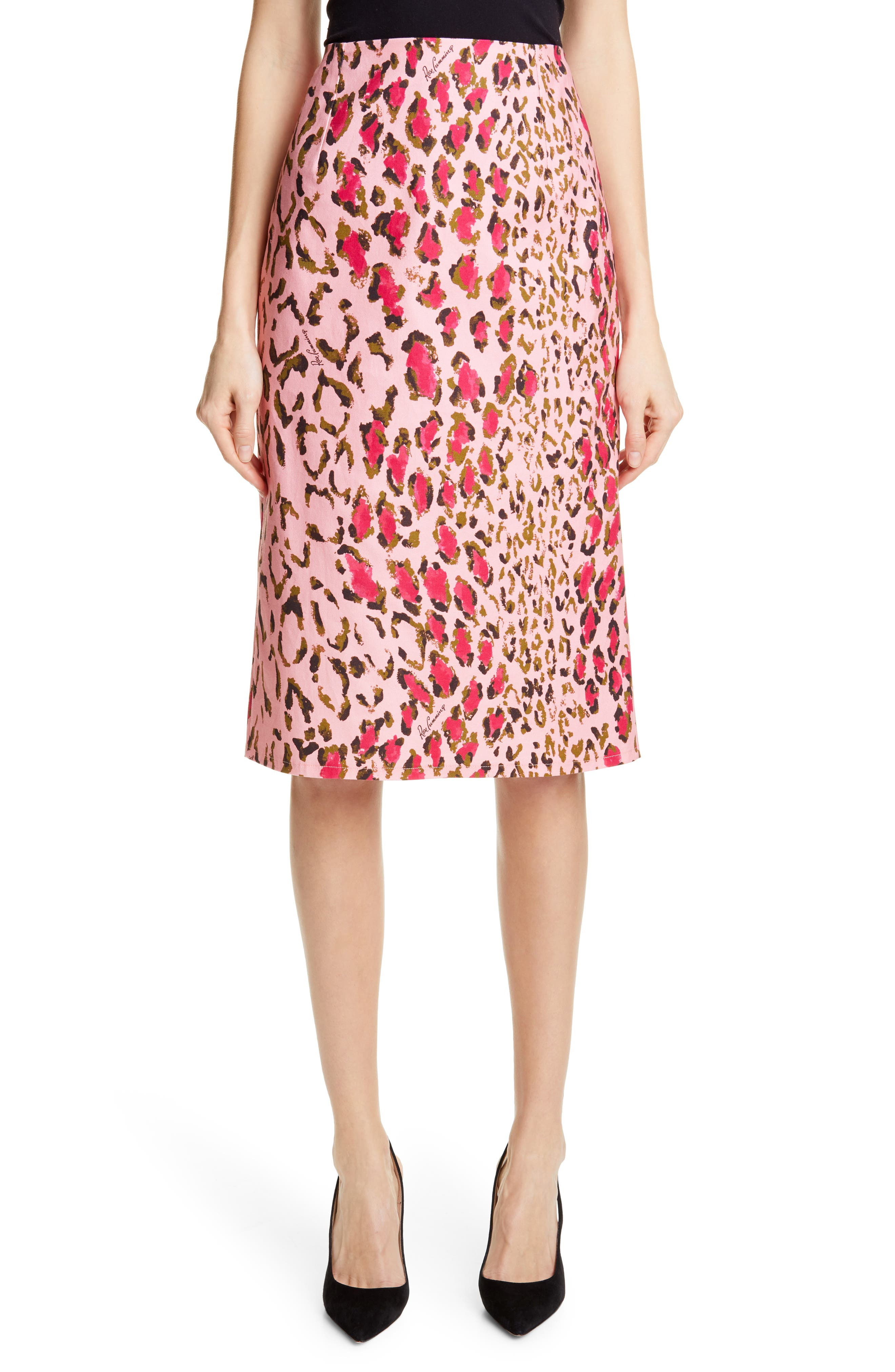 Leopard Print Pencil Skirt, Main, color, SHELL PINK MULTI