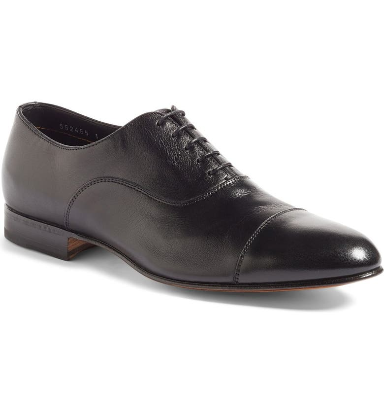 SANTONI Darian Cap Toe Oxford, Main, color, BLACK LEATHER