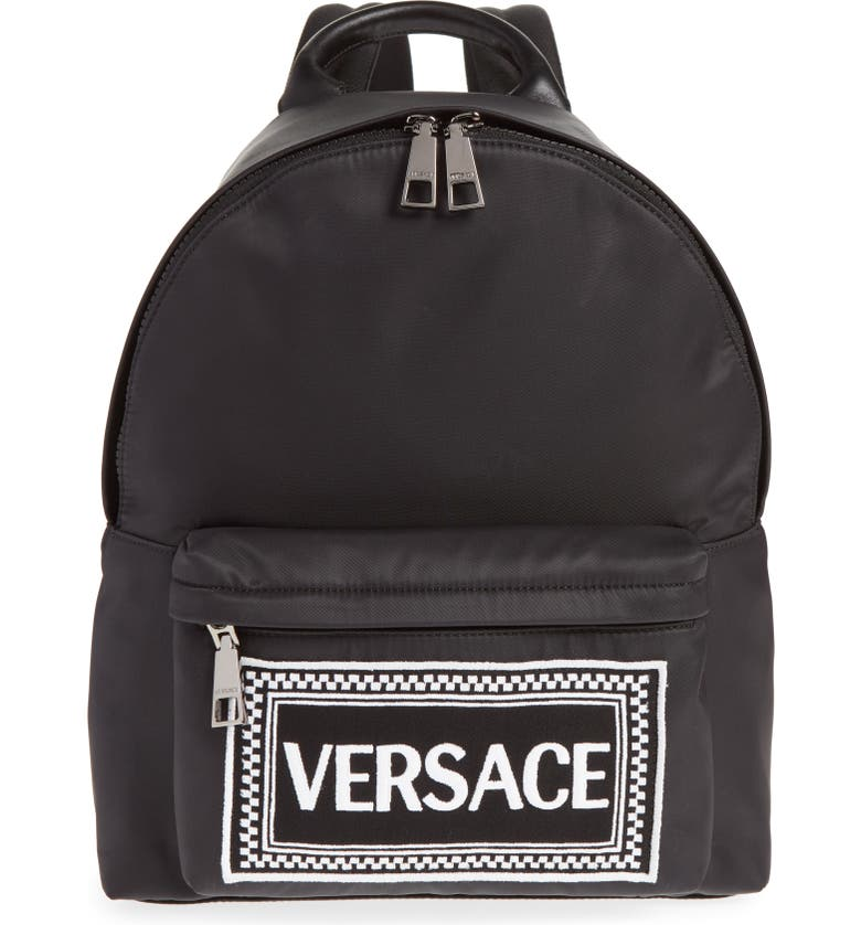 VERSACE Logo Graphic Leather Backpack, Main, color, YSNNC BLACK