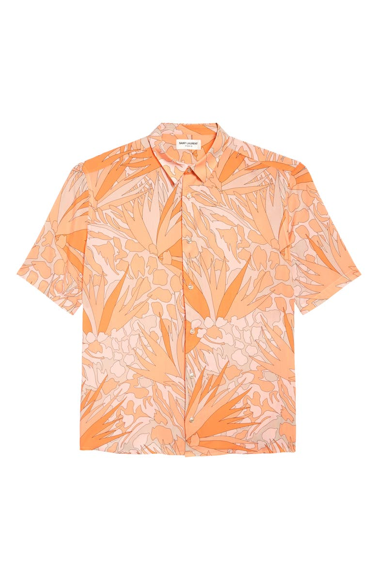 SAINT LAURENT Jungle Print Short Sleeve Button-Up Shirt, Main, color, ORANGE