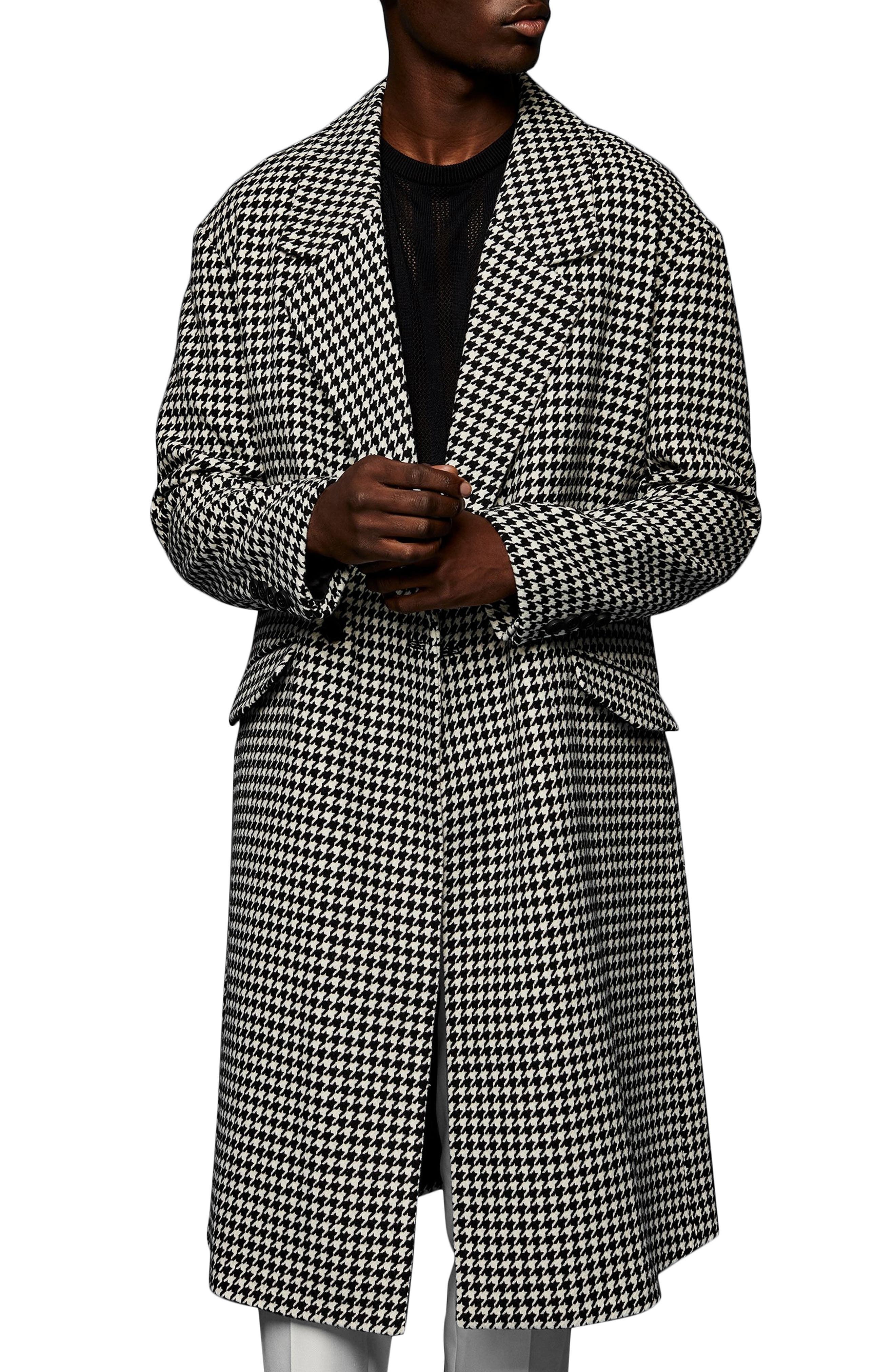 50s Men's Jackets | Greaser Jackets, Leather, Bomber, Gabardine Mens Topman Houndstooth Coat Size Medium - White $200.00 AT vintagedancer.com