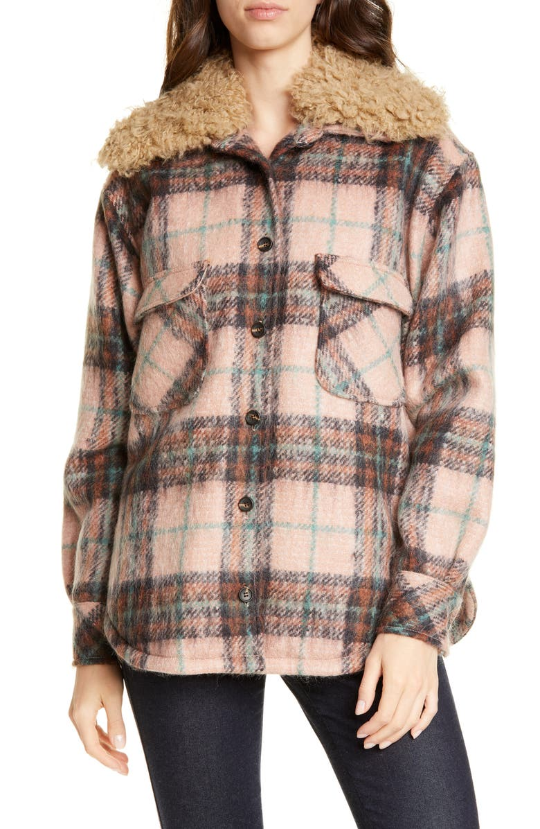 SMYTHE Workwear Plaid Faux Shearling Trim Jacket, Main, color, BUFF PLAID