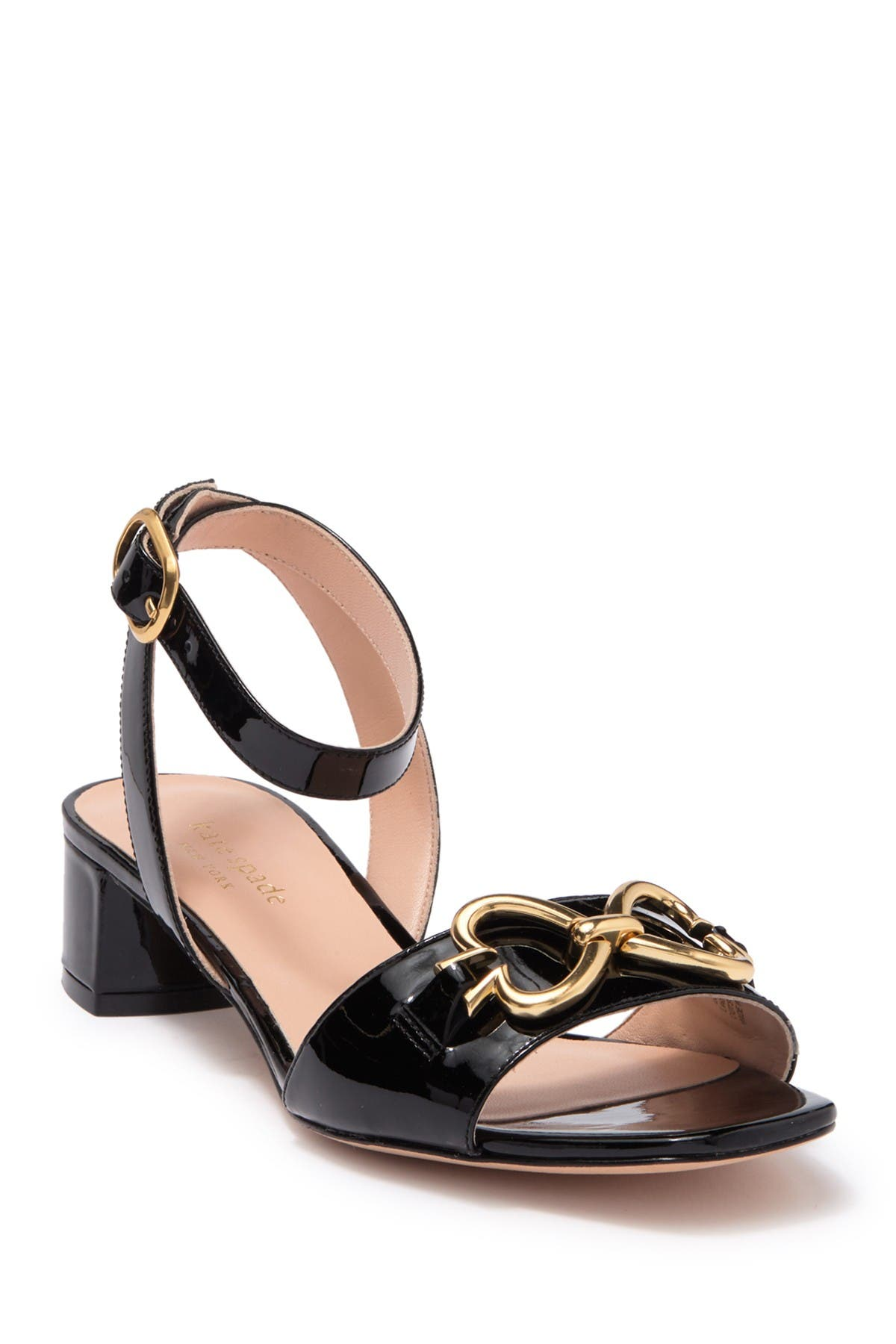 Kate Spade Women's Lagoon Heart Chain Patent Leather Sandals In Black
