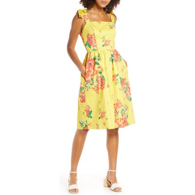 Charles Henry Floral Print Tie Strap Sundress, Yellow