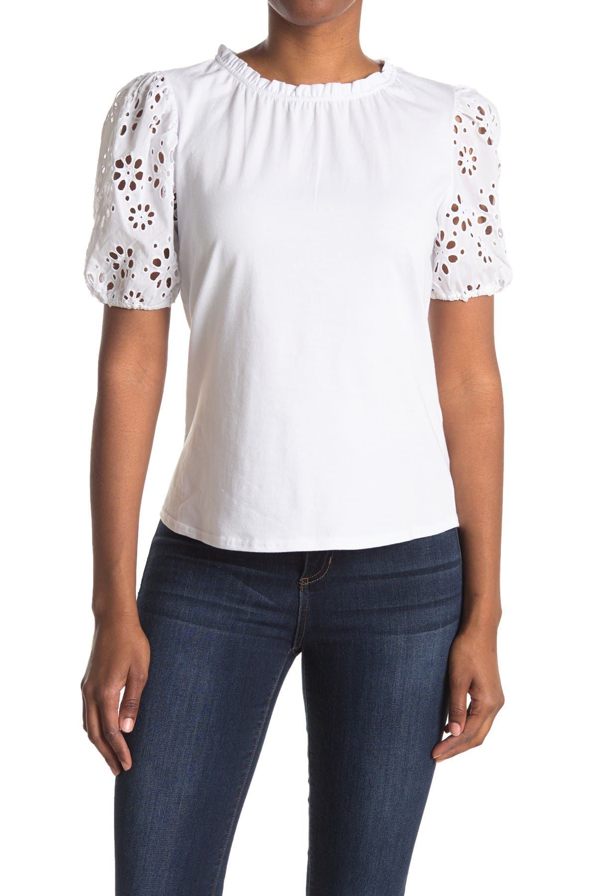 Image of Laundry By Shelli Segal Eyelet Balloon Sleeve Knit Top