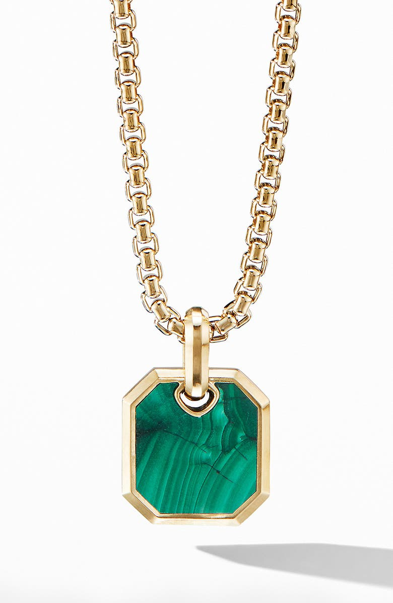DAVID YURMAN Roman Amulet in 18k Yellow Gold with Malachite, Main, color, GOLD/ MALACHITE