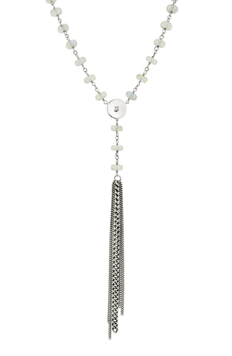 SHERYL LOWE Moonstone & Diamond Tassel Y-Necklace, Main, color, MOONSTONE