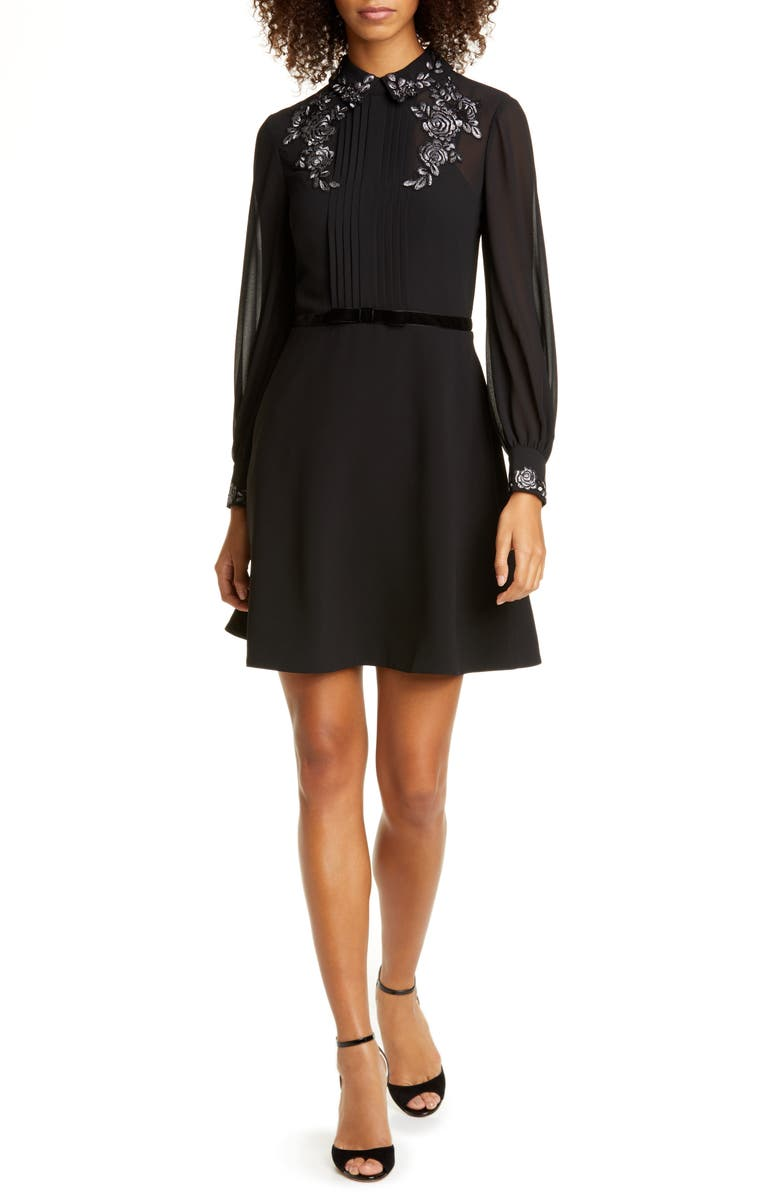 TED BAKER LONDON Embroidered Collar Long Sleeve Shirtdress, Main, color, BLACK
