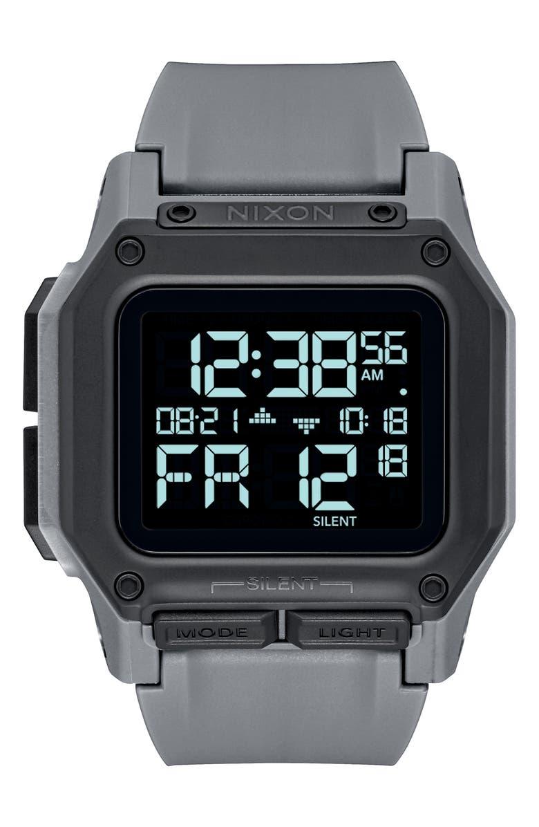 NIXON Regulus Digital Watch, 46mm, Main, color, GUNMETAL/ BLACK/ GUNMETAL