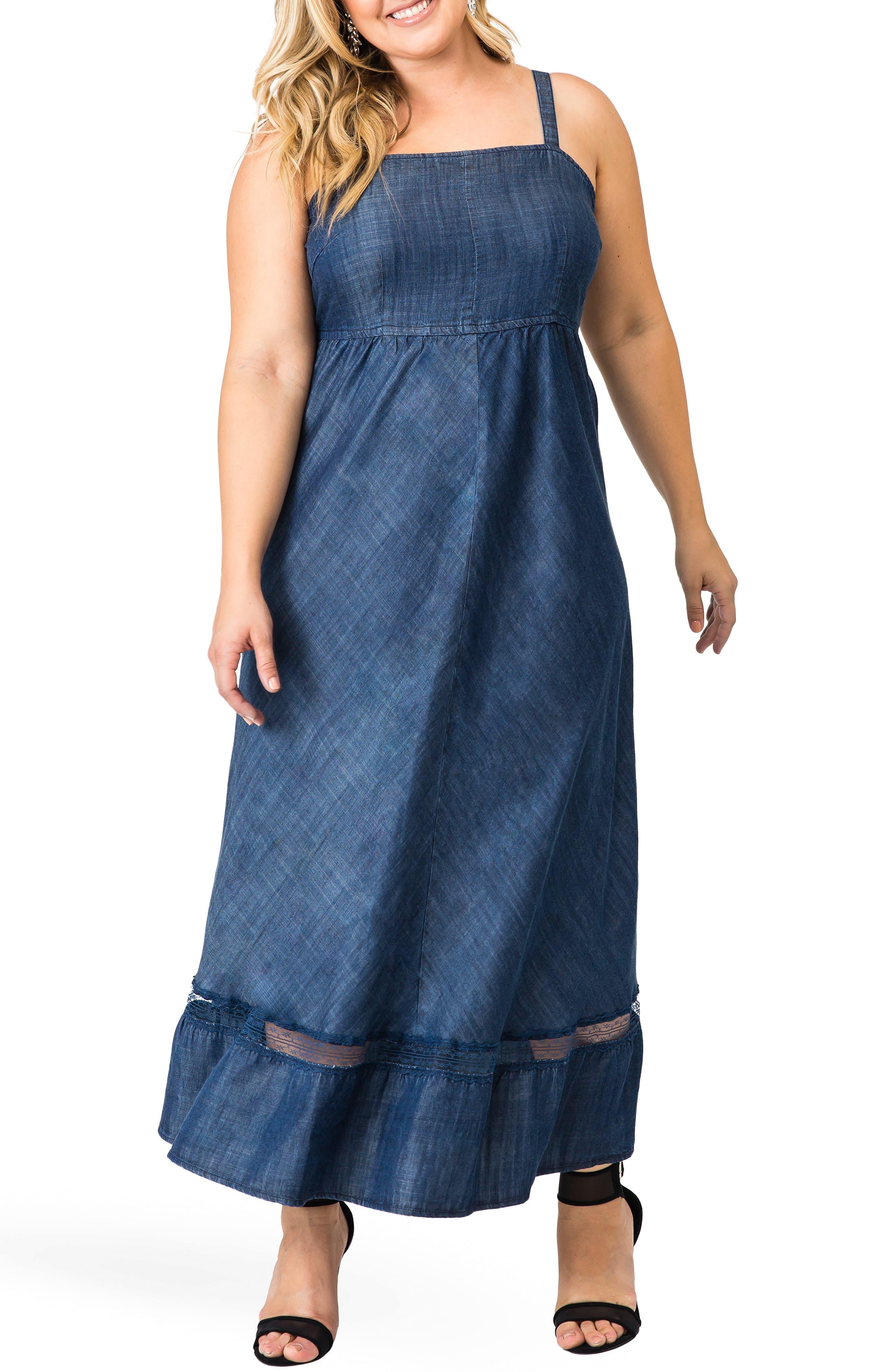 Plus Size Standards & Practices Lynne Tencel Maxi Dress, Blue