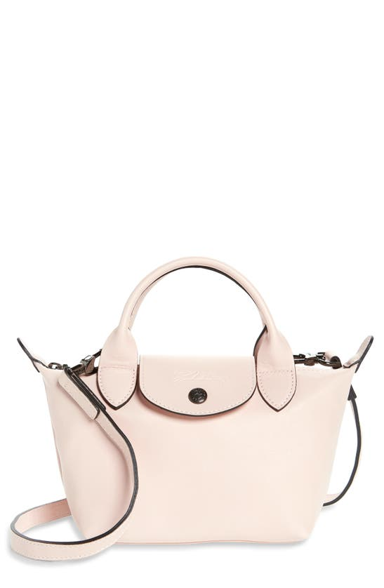 Longchamp Mini Le Pliage Cuir Leather Top Handle Bag In Pale Pink
