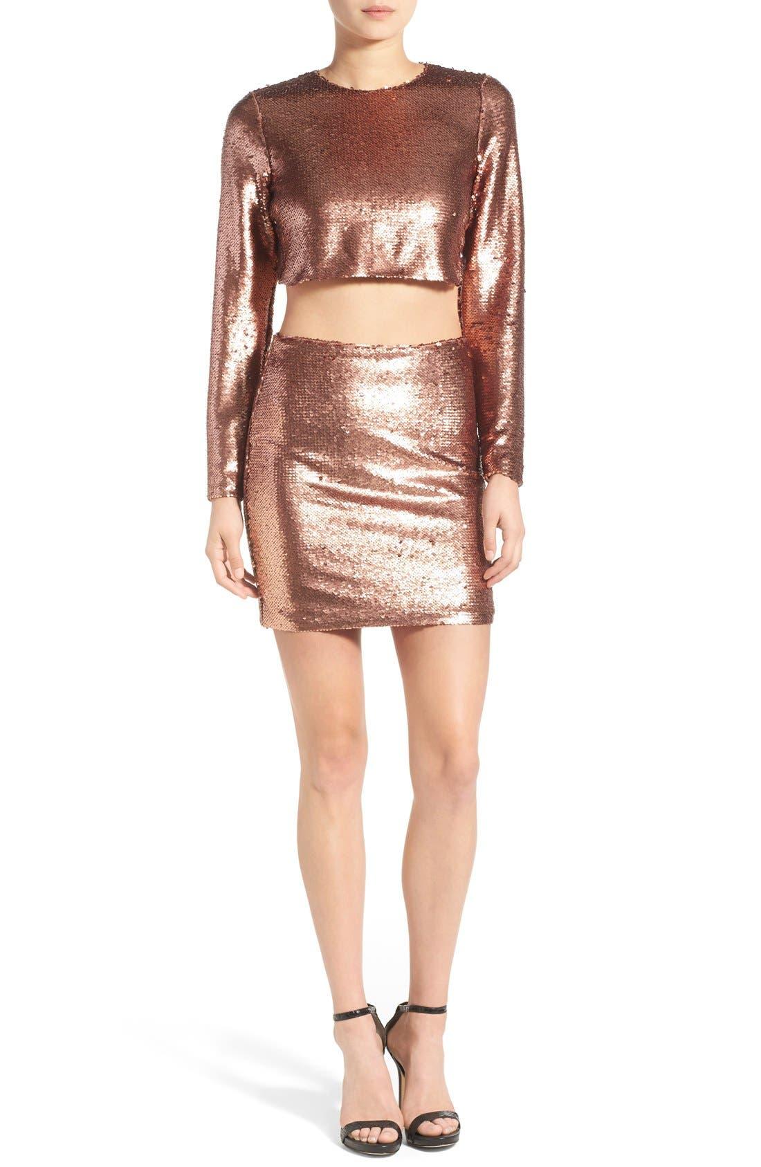 ,                             Sequin Miniskirt,                             Alternate thumbnail 5, color,                             220