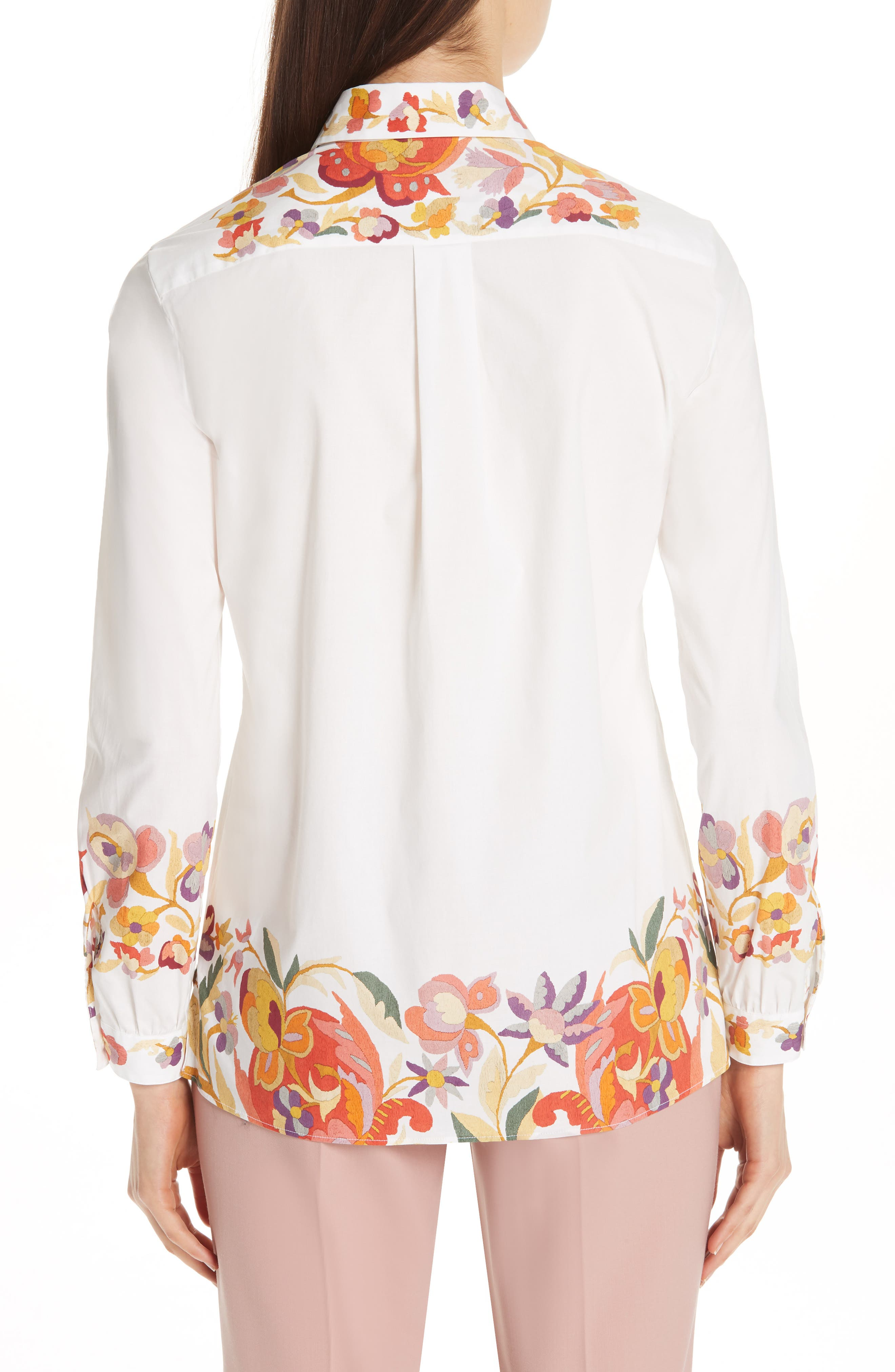 ,                             Floral Print Stretch Cotton Shirt,                             Alternate thumbnail 2, color,                             WHITE