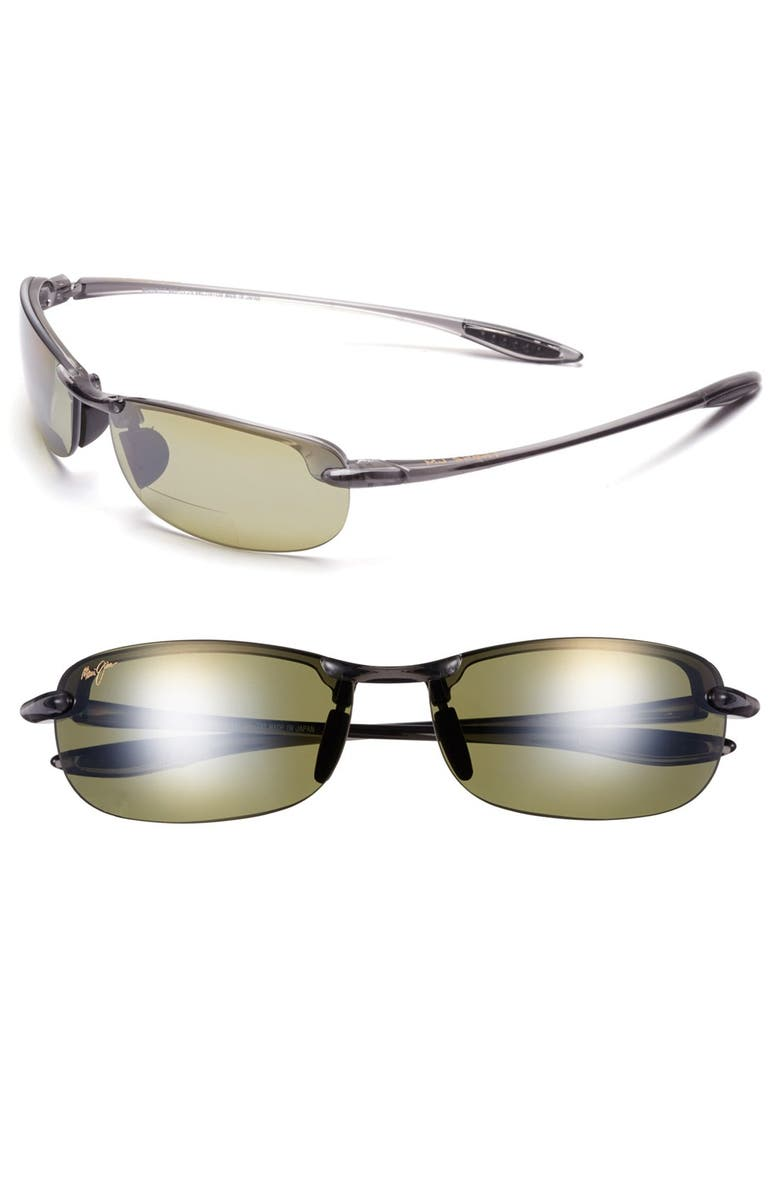 MAUI JIM 'Makaha' 64mm PolarizedPlus2<sup>®</sup> Reading Sunglasses, Main, color, SMOKE GREY