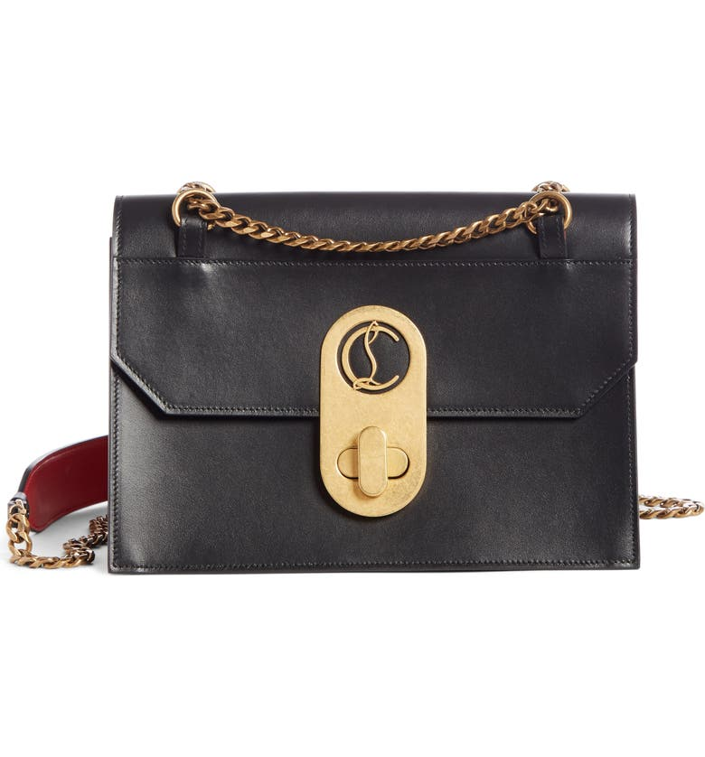 CHRISTIAN LOUBOUTIN Large Elisa Calfskin Leather Shoulder Bag, Main, color, BLACK