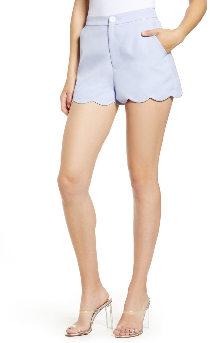 ENGLISH FACTORY Scallop Edge Shorts, Main, color, BLUE