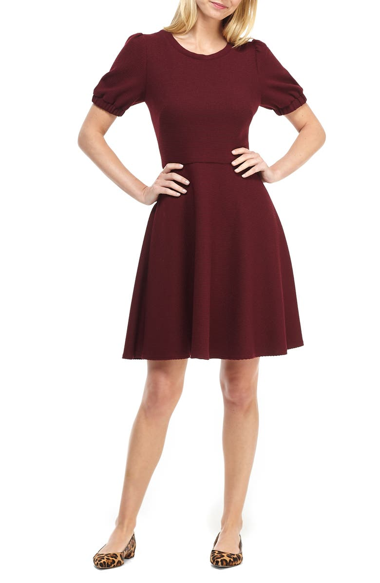GAL MEETS GLAM COLLECTION Kristen Ribbed Fit & Flare Sweater Dress, Main, color, VINO