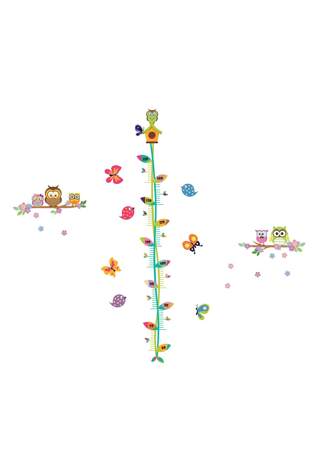 Image of WalPlus Height Chart Forest Wall Decor