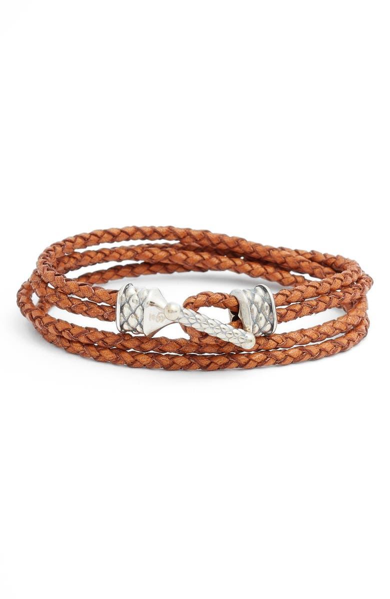 DEGS & SAL Braided Leather Wrap Bracelet, Main, color, BROWN