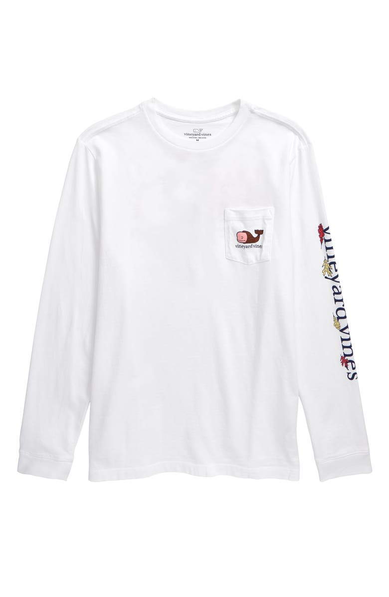 VINEYARD VINES Thanksgiving Day Whale Long Sleeve T-Shirt, Main, color, WHITE CAP