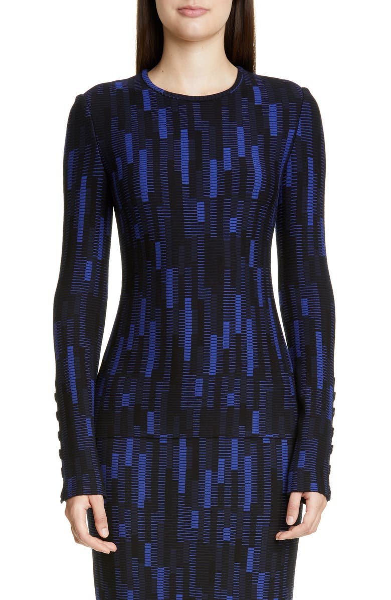ST. JOHN COLLECTION Mosaic Stretch Jacquard Sweater, Main, color, PRUSSIAN BLUE/ NAVY