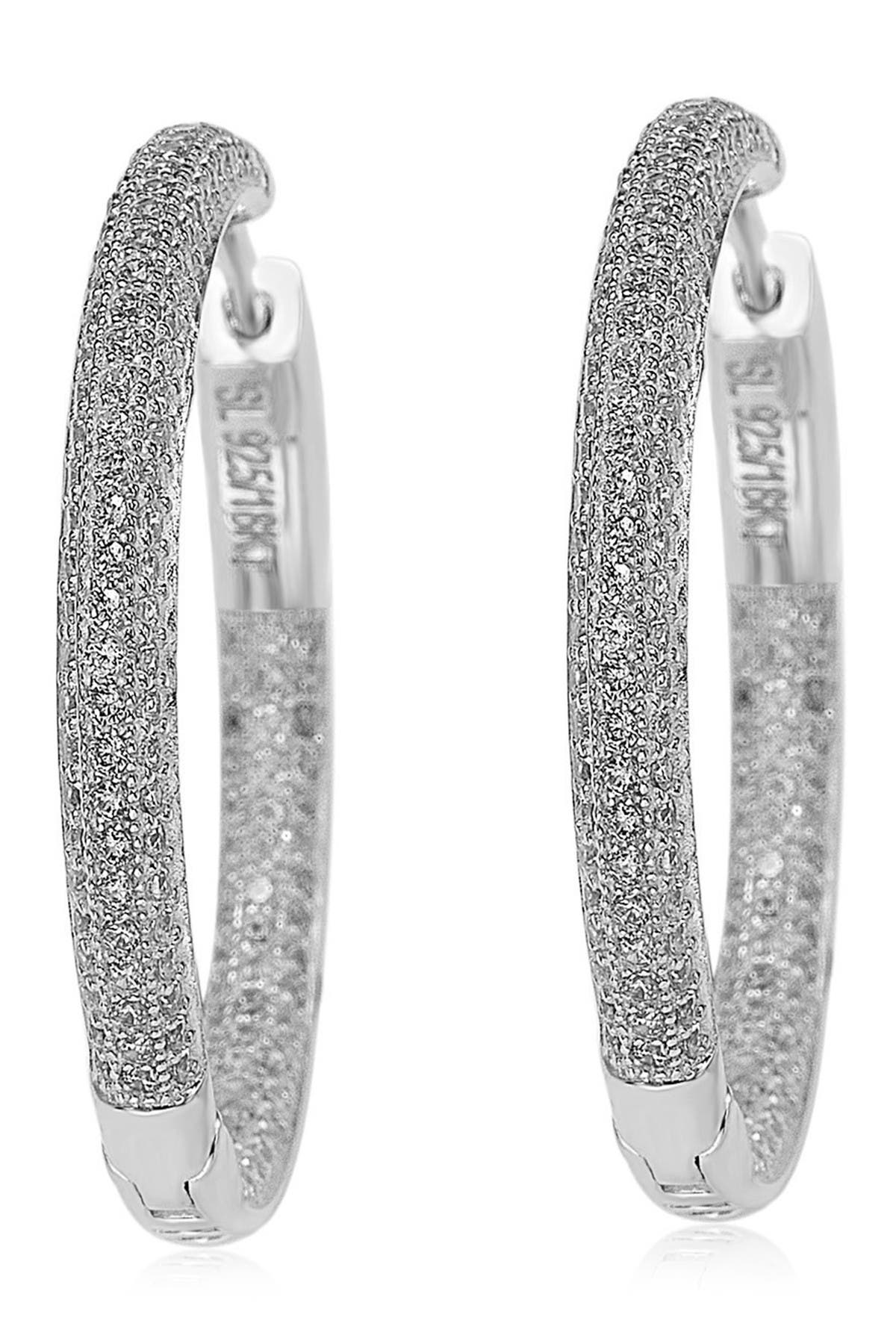 Image of Suzy Levian Sterling Silver Pave Set CZ Hoop Earrings