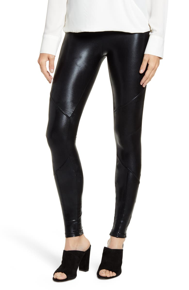 HUE Body Gloss Moto Leggings, Main, color, BLACK