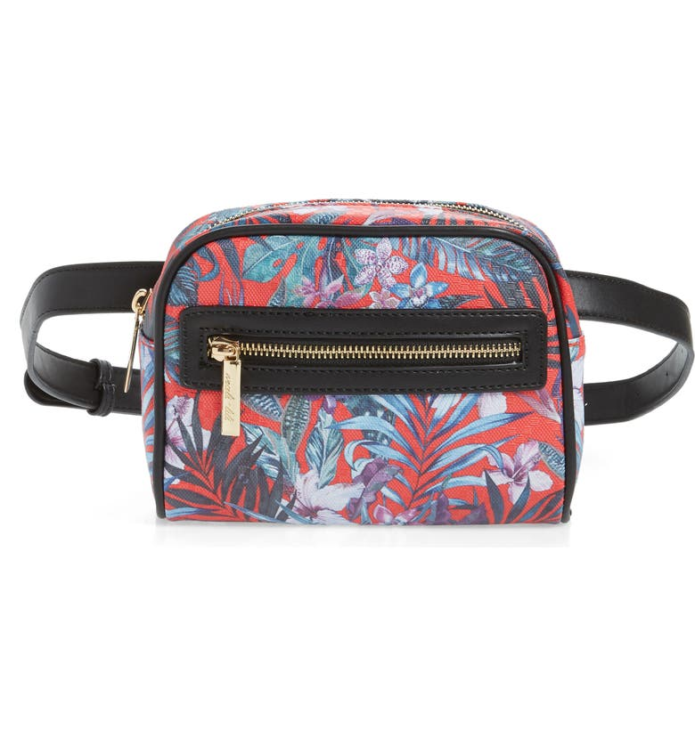 MALI + LILI Lacey Floral Convertible Vegan Leather Belt Bag, Main, color, 001