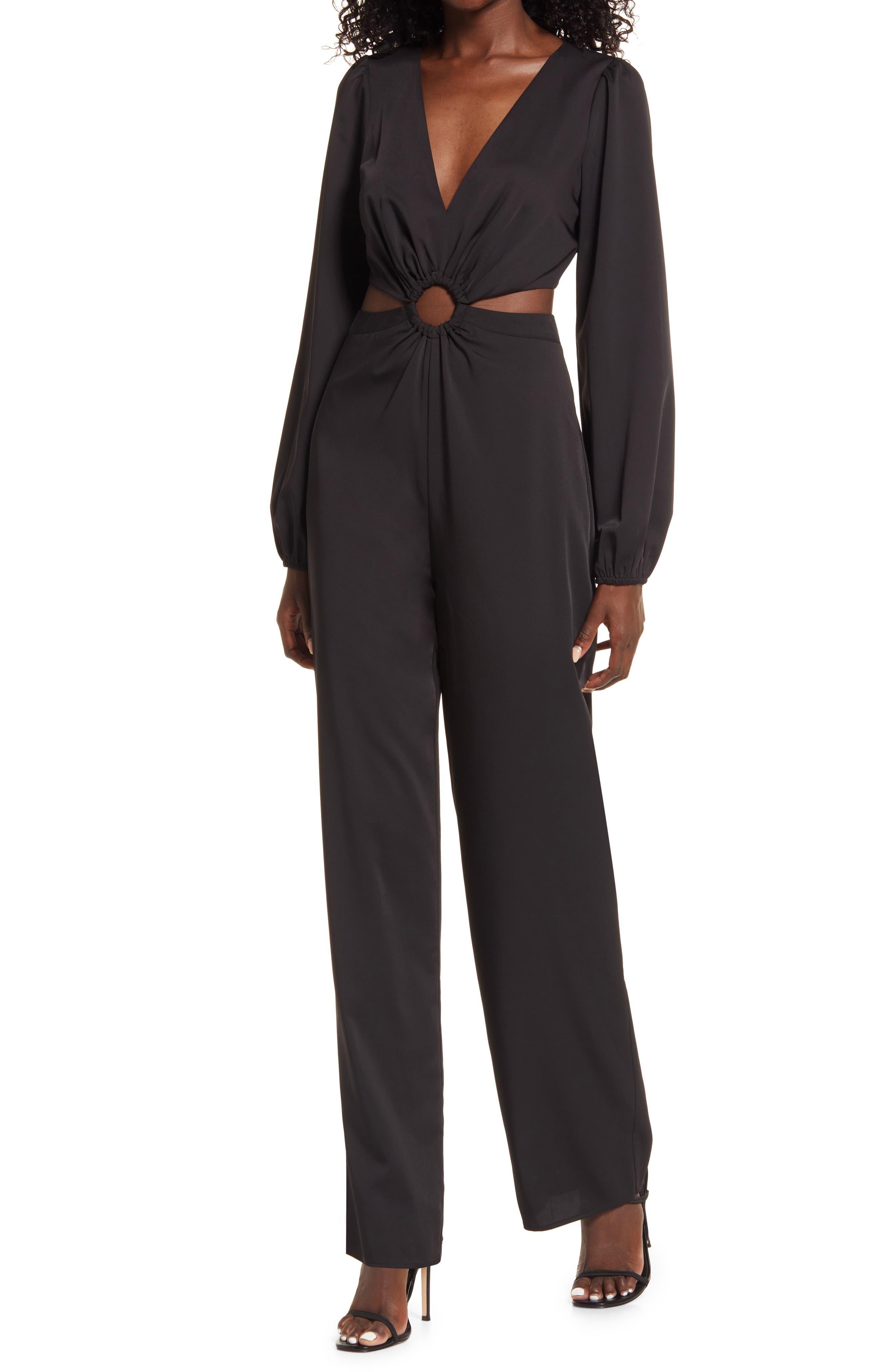 70s Jumpsuit   Disco Jumpsuits, Sequin Rompers Womens Lulus Vegas Nights Long Sleeve Cutout Jumpsuit Size Small - Black $64.00 AT vintagedancer.com