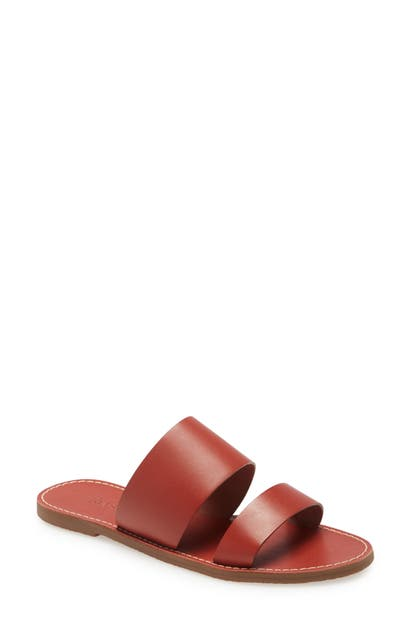 Madewell The Boardwalk Double Strap Slide Sandal In Weathered Brick