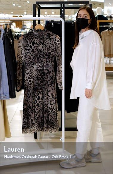 Animal Print Long Sleeve Mesh Midi Dress, sales video thumbnail