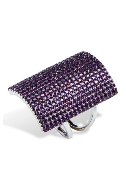 Image of Savvy Cie Sterling Silver Created Pink Sapphire Shield Ring