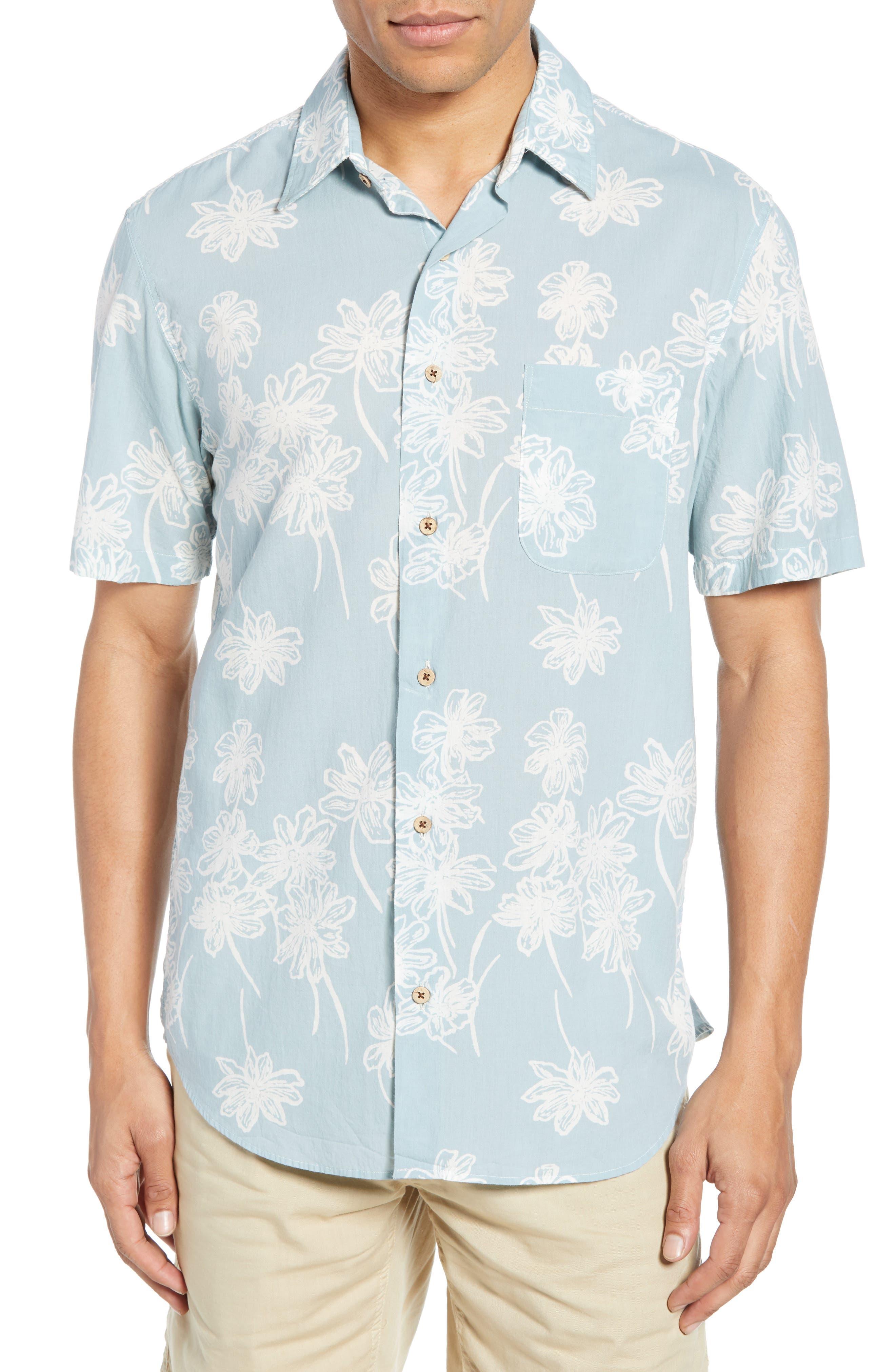 Faherty Coast Regular Fit Print Organic Cotton Sport Shirt, Blue