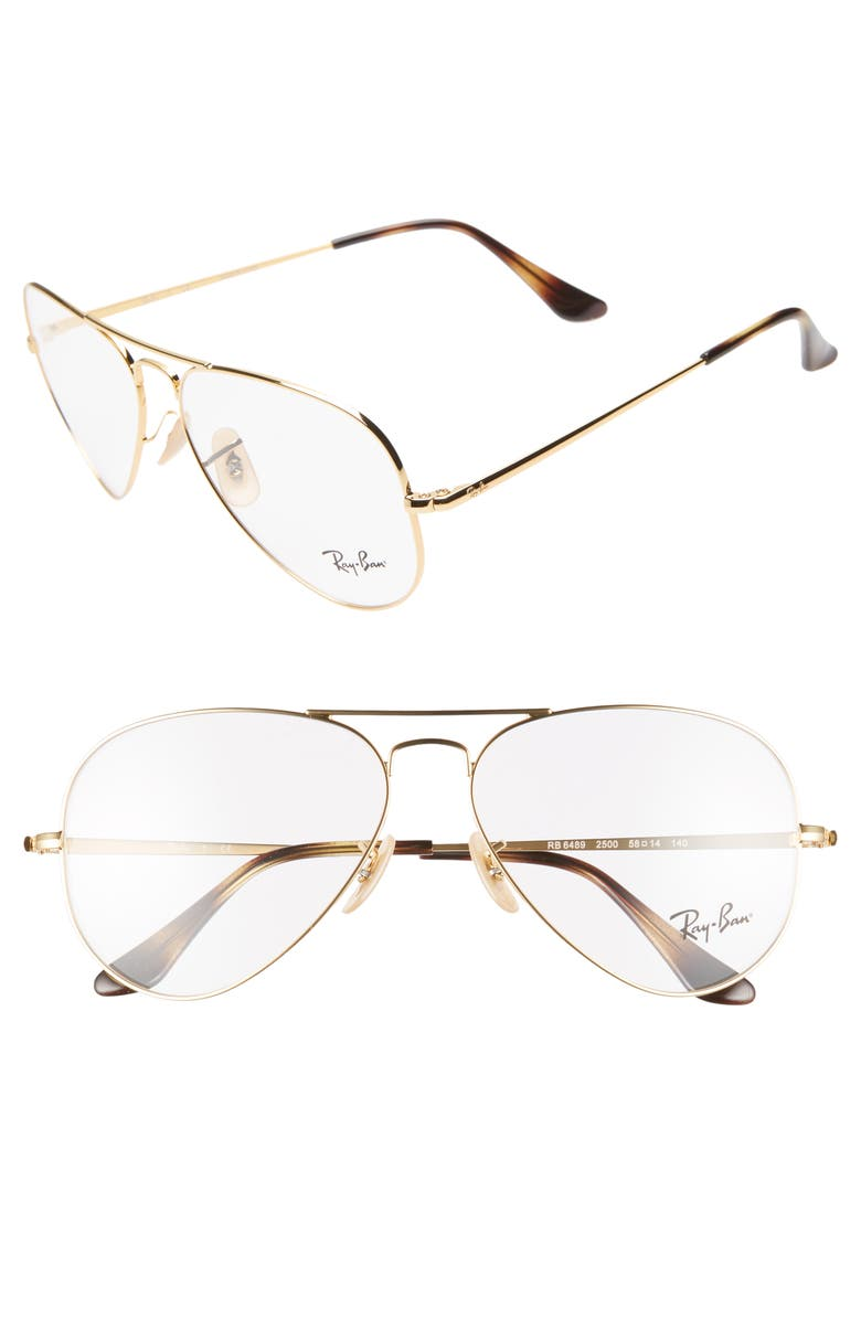 RAY-BAN 58mm Optical Glasses, Main, color, GOLD