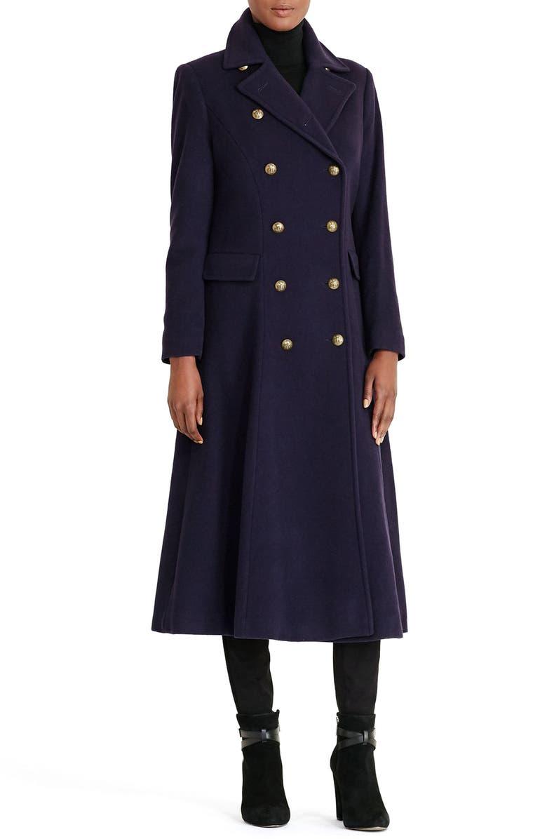LAUREN RALPH LAUREN Double Breasted Military Maxi Coat, Main, color, 415